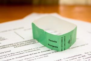 Wristband from a visitor of Cindy Close's present at the birth of her twins